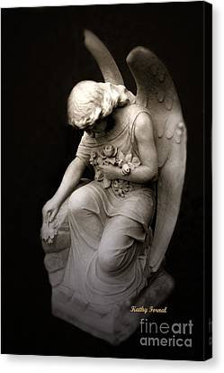 Surreal Sad Angel Kneeling In Prayer Canvas Print by Kathy Fornal