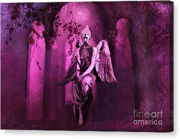 Surreal Sad Gothic Angel Purple Pink Nature - Haunting Sad Angel In Woods Canvas Print by Kathy Fornal