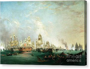 Surrender Of The Santissima Trinidad To Neptune The Battle Of Trafalgar Canvas Print by Lieutenant Robert Strickland Thomas