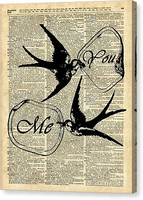 Swallows In Love,flying Birds Vintage Dictionary Art Canvas Print by Jacob Kuch