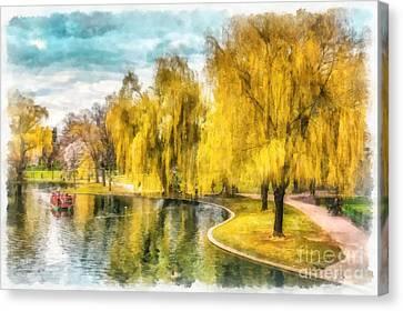 Swan Boats Boston Public Garden Canvas Print by Edward Fielding