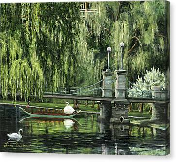 Swan Boats Canvas Print by Lisa Reinhardt