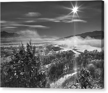 Swan Valley Winter Black And White Canvas Print by Leland D Howard