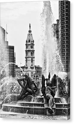 Swann Memorial Fountain In Black And White Canvas Print by Bill Cannon