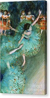 Swaying Dancer In Green Canvas Print by Pg Reproductions
