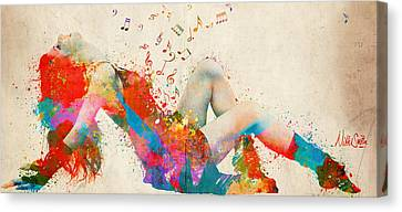 Sweet Jenny Bursting With Music Cropped Canvas Print by Nikki Marie Smith