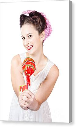 Sweet Lolly Shop Lady Offering Over Red Lollipop Canvas Print by Jorgo Photography - Wall Art Gallery