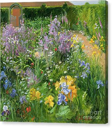 Sweet Rocket - Foxgloves And Irises Canvas Print by Timothy Easton