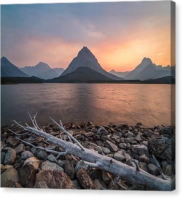 Sunset // Swift Current Lake, Glacier National Park  Canvas Print by Nicholas Parker