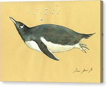 Swimming Penguin Canvas Print by Juan  Bosco