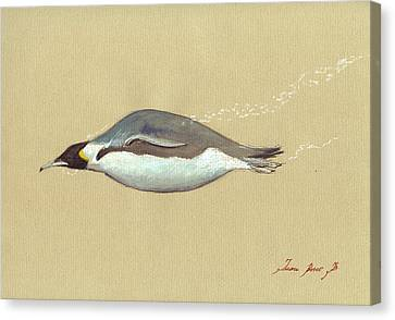 Swimming Penguin Painting Canvas Print by Juan  Bosco