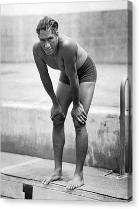 Swimming Star Duke Kahanamoku Canvas Print by Underwood Archives