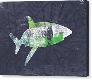 Swimming With Sharks 2- Art By Linda Woods Canvas Print by Linda Woods