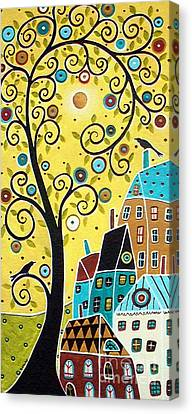 Swirl Tree Two Birds And Houses Canvas Print by Karla Gerard