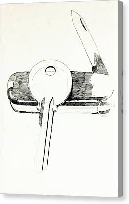 Swiss Knife And Key  By Ivailo Nikolov Canvas Print by Boyan Dimitrov