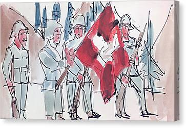 Swiss Soldiers With Flag Canvas Print by Ernst Ludwig Kirchner