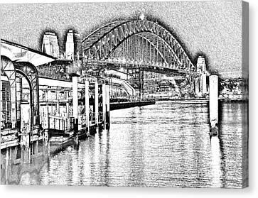 Sydney Harbour Bridge Pencil Sketch 2 By Kaye Menner Canvas Print by Kaye Menner