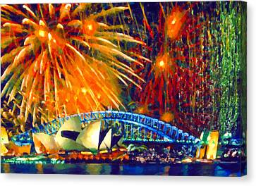 Sydney New Year Fireworks Canvas Print by Lanjee Chee
