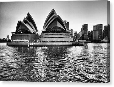 Sydney Opera House-black And White Canvas Print by Douglas Barnard
