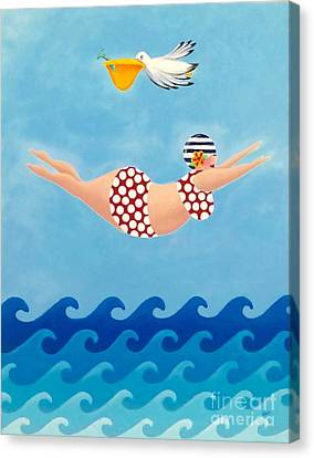 Sylvia Diving II Canvas Print by Stephanie Troxell