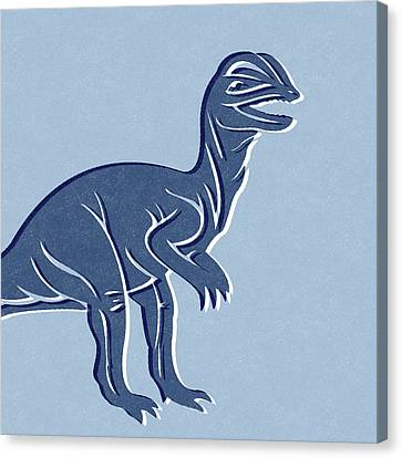 T-rex In Blue Canvas Print by Linda Woods