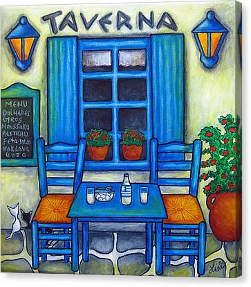 Table For Two In Greece Canvas Print by Lisa  Lorenz
