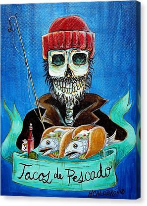 Tacos De Pescado Canvas Print by Heather Calderon