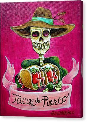 Tacos De Puerco Canvas Print by Heather Calderon