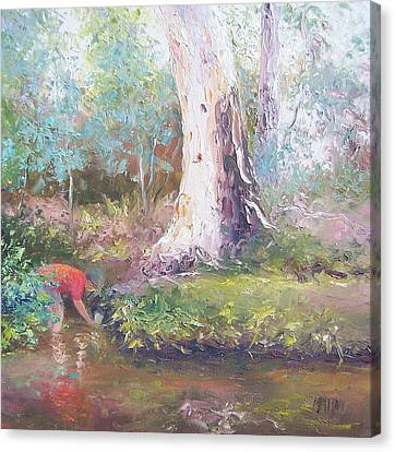 Tad Poling By The River Canvas Print by Jan Matson