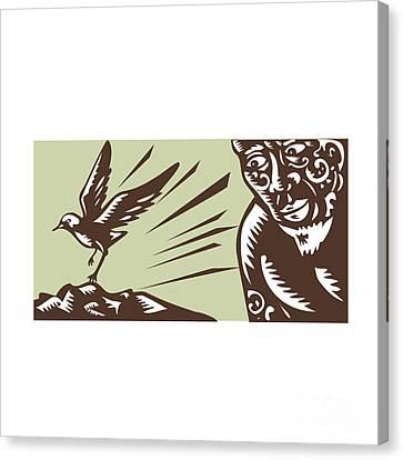 Tagaloa Looking At Plover Bird Woodcut Canvas Print by Aloysius Patrimonio