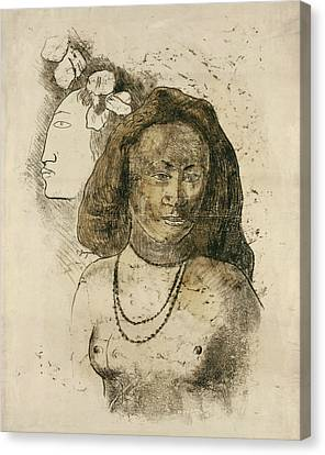 Tahitian Woman With Evil Spirit Canvas Print by Paul Gauguin
