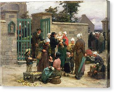 Taking In Foundlings Canvas Print by Leon Augustin Lhermitte