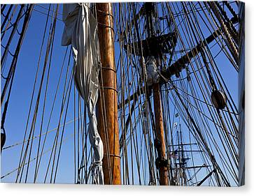 Tall Ship Rigging Lady Washington Canvas Print by Garry Gay