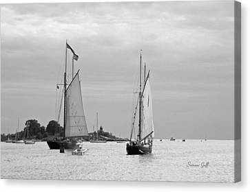 Tall Ships Sailing I In Black And White Canvas Print by Suzanne Gaff