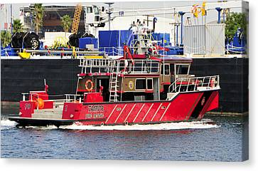 Tampa Fire Rescue Boat Canvas Print by David Lee Thompson