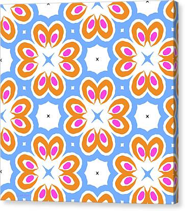 Tangerine And Sky Floral Pattern- Art By Linda Woods Canvas Print by Linda Woods