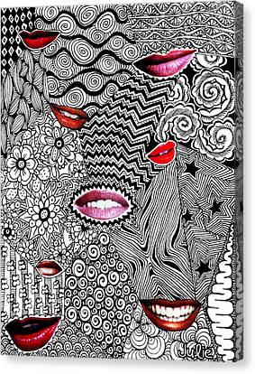 Tangled Lips Canvas Print by Julie Erin Designs