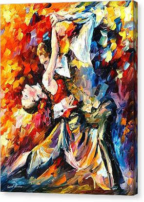 Tango In Paris - Palette Knife Oil Painting On Canvas By Leonid Afremov Canvas Print by Leonid Afremov