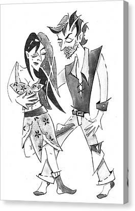 Tango Yoga - Colgada Step - Dancing Couple Canvas Print by Arte Venezia