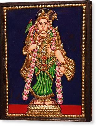 Tanjore Painting - Andal Canvas Print by Poornema Ramasundaram