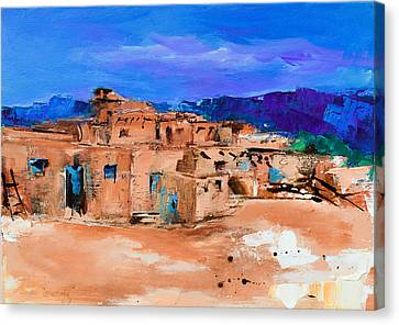 Taos Pueblo Village Canvas Print by Elise Palmigiani
