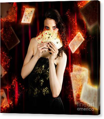Tarot Magician Holding Magic Fire Cards Of Fate Canvas Print by Jorgo Photography - Wall Art Gallery