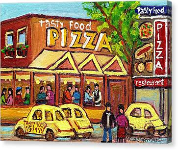 Tasty Food Pizza On Decarie Blvd Canvas Print by Carole Spandau