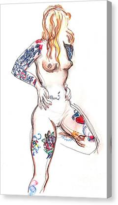 Tat Girl - Nude Tattoed Woman Canvas Print by Carolyn Weltman