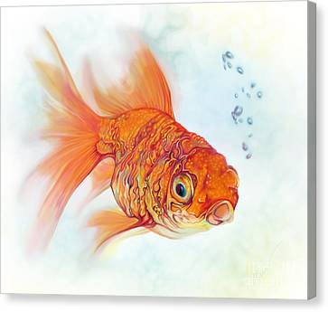 Tattoo And Watercolor Goldfish Canvas Print by Julianne Black