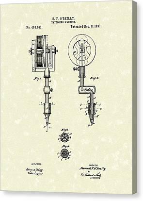 Tattoo Machine 1891 Patent Art Canvas Print by Prior Art Design