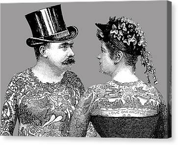 Tattooed Victorian Lovers Canvas Print by Eclectic at HeART