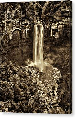 Taughannock Falls - Sepia Canvas Print by Stephen Stookey
