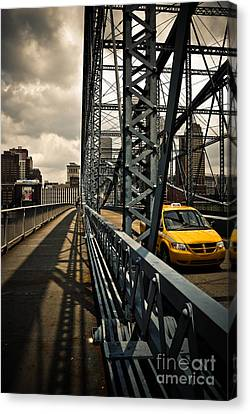 Taxi Crossing Smithfield Street Bridge Pittsburgh Pennsylvania Canvas Print by Amy Cicconi