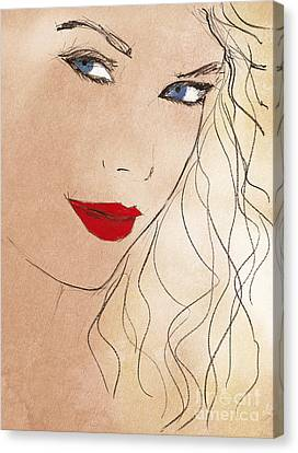 Taylor Red Lips Canvas Print by Pablo Franchi
